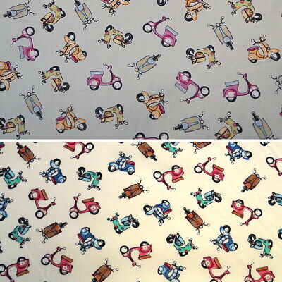 100% Cotton Poplin Fabric Flowery Pattern Scooter Moped Motorcycle Motorbike