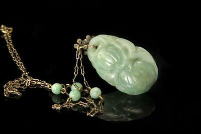 Antique Chinese Carved Green Jadeite Silver Pendant Necklace D113-02