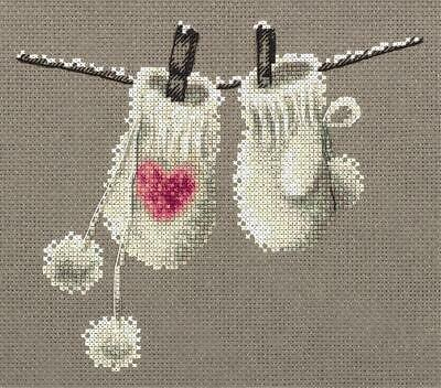 Counted Cross Stitch Embroidery Kit by Panna ZM-7068 Mittens