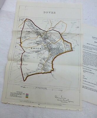 DOVER, 1868 - Large Original Antique Map / Plan, Boundary Commissioners Report.