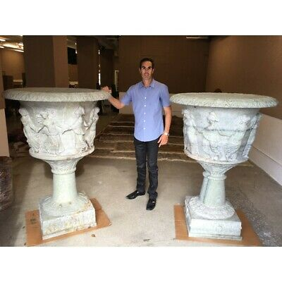 Pair of Palace Size Early to Mid 20th Century Italian Carved Marble Urns