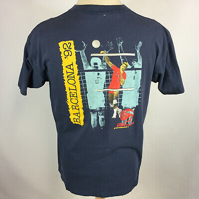 Vintage 80s 90s USA Volleyball Barcelona Distressed Thin T Shirt 1992 Olympics