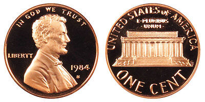 1984 S GEM BU PROOF Lincoln Memorial BRILLIANT UNCIRCULATED PENNY US COIN PF