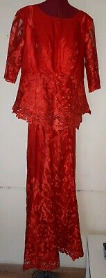 Red Lace African Skirt And Blouse Antire