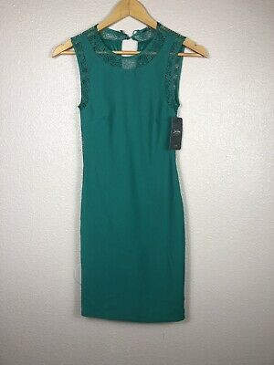 5614c2e7 Zara Trafaluc Women's Dress Solid career lace detailed Green Size Small NWT