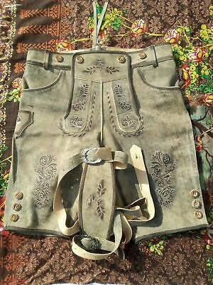 Mens Bavarian LEDERHOSEN Real Antique Cow Suede Leather With a Great COMBINATION