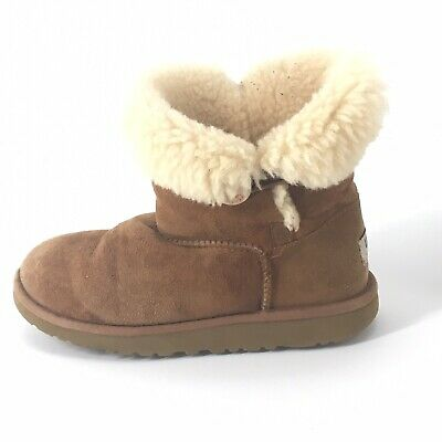 f9a9b7605 UGG Kids Bailey Button II Chestnut Suede Shearling Boots 5991 US Size 3