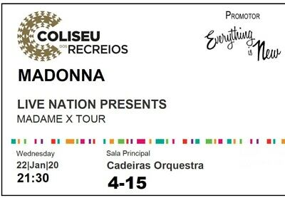 Madonna Madame X Tour Ticket Lisbon 2020/01/22 Orchestra Row 4