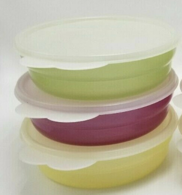 Tupperware Impressions Sheer Pastel Microwave Cereal Bowls Plum Pear Yellow New