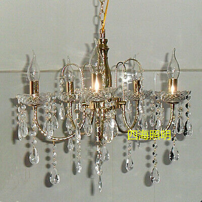 Glass Crystal Candle Chandelier Wrought Iron Ceremony Pavilion LED Pendent Lamp