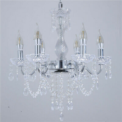 Crystal Candle Chandelier Wrought Iron Electroplating Pendent Lamp Living Room
