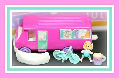 ❤️Polly Pocket Vtg 1994 Home On the Go COMPLETE Doll Van RV Bicycle Bluebird❤️
