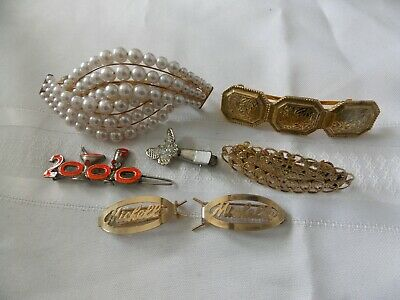 Lot Of 7 Hair Barrett Clip Faux Pearl 2 Made In France #C89