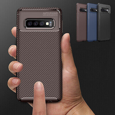 For Samsung Galaxy S10 5G S10 Plus Shockproof Carbon Fiber Soft TPU Case Cover