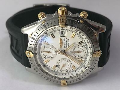a890dc5b7e5 Breitling Chronomat Chronograph 18k Gold Stainless Watch B13352 Serviced  12/18