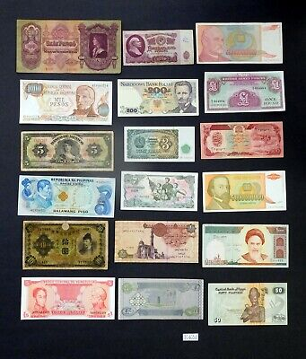 Uncirculated Lot of 18 PAPER MONEY BANKNOTES WORLD CURRENCY /& Gold Pltd Souvenir