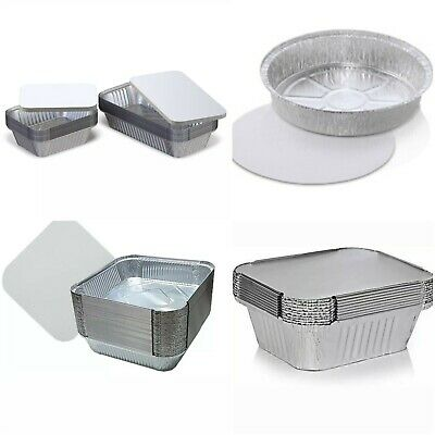 ALUMINIUM FOIL FOOD CONTAINERS+LIDS x 100 PERFECT FOR HOME AND TAKEAWAY USE