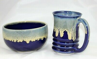 Handcrafted Pottery Mug & Bowl Set in Cobalt Ground Color with Drip Glaze