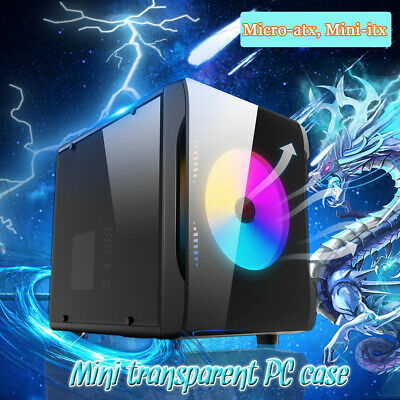 AU Transparent Gaming Computer PC Case with Three Sides For Micro-atx Mini-itx