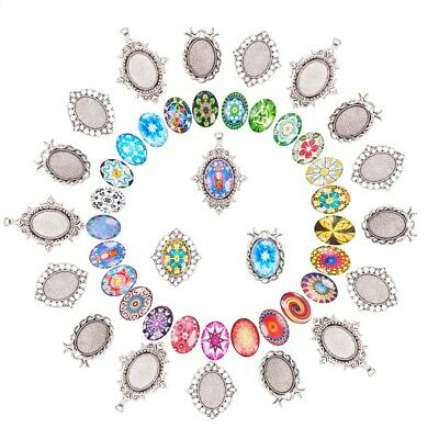 30Pcs Mosaic Printed Glass Oval Cabochons with 30 PCS Blank Pendant Frame Trays