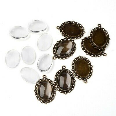 10 Sets Antique Bronze Pendant Cabochon Settings and Oval Clear Glass Cabochons