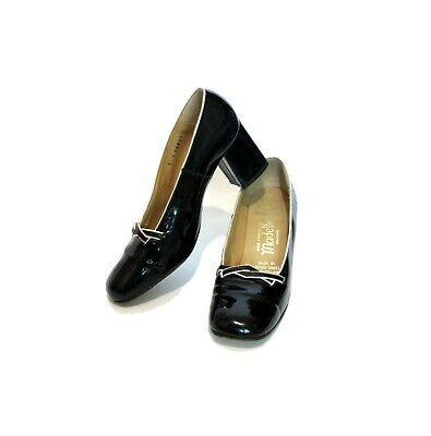 BLACK WHITE MOD Heels Shoes 60s Block heel pinup witch goth Shiny patent Leather