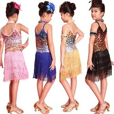 Kids Girls Sequins Latin Dance Dress Ballroom Tasseled Dancewear Costume AU