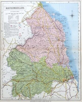 NORTHUMBERLAND, 1884 - Original Antique County Map -  LETTS