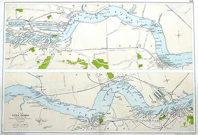 THE PORT OF LONDON , 1912 - Antique Map, The RIVER THAMES - WOOLWICH to TILSBURY