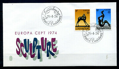 Europa Cept   F.D.C  Luxembourg   Sculptures 1974