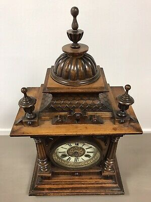 Victorian Black Forest Golden Oak 14 Day Mantle Clock By H.a.c. Working.