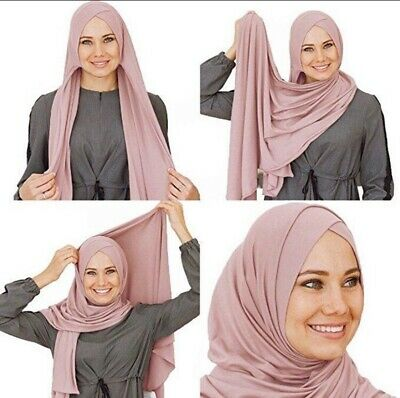 MUSLIM TWO LOOP Cotton Jersey Pullover Scarf Hijab Stretchy Shawl