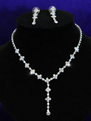 Bridal Wedding Bridesmaid Dangle Crystal Silver Plated Necklace Earrings Set