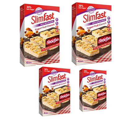 4 Slimfast Chocolate Crunch Meal Replacement Bars 16 X 56g Delicious Combination