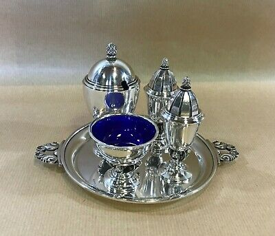 Georg Jensen=Acorn Cruet Set(741) + Tray(741A)=Denmark=Sterling Silver=Post 1945