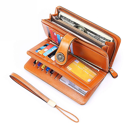 UMODE Vintage Style Genuine Leather Large Capacity RFID Wallet Organizer for