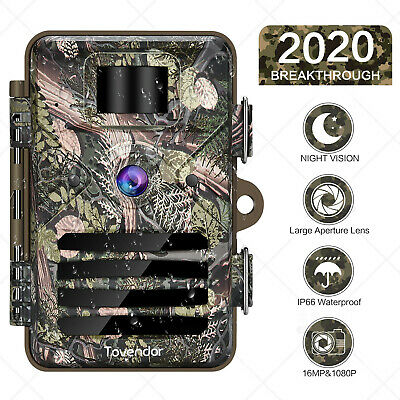 16MP Trail Camera IP66 Waterproof Wildlife Hunting Cam with No Glow Night Vision