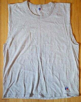 Vintage 90s RUSSELL ATHLETIC t shirt XL gray plain blank sleeveless muscle tee