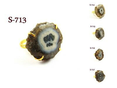 18K Gold Plated Druzy Ring Black Solar Quartz Stone Prong Setting Brass Jewelry
