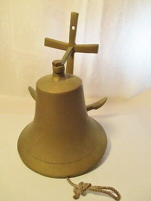 Vintage Nautical Brass Ships  Bell With Anchor  Wall Mount