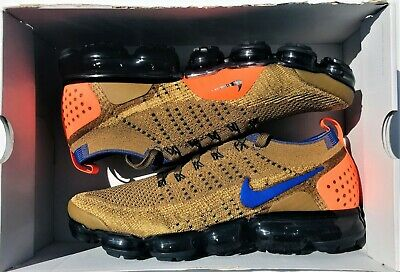 Nike Air Vapormax Flyknit 2 Orange Golden Beige Blue 942842-203  Men's Size 12.5