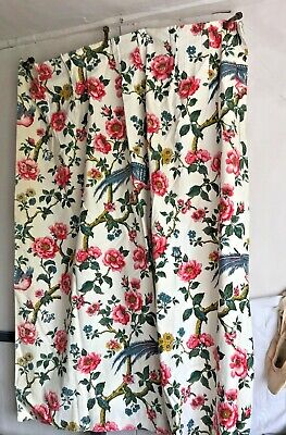 Vintage French Fabric Curtain Floral Pink Peonies Blue Bird of Paradise Textile