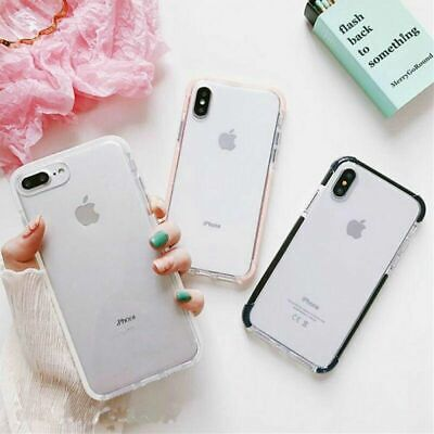 For iPhone XS Max XR Silicone Frame Ultra Slim Clear Shockproof TPU Case Cover