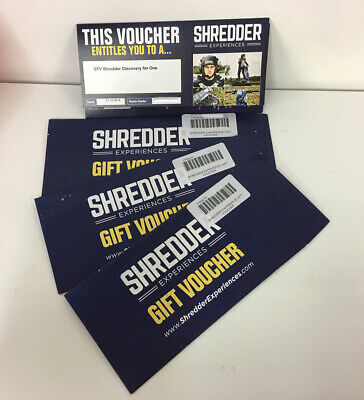 Gift Voucher Experiences DTV SHREDDER DISCOVERY For 3 People RRP £50 EACH