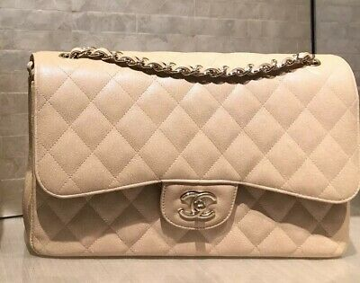 b88fb3cd1a88 Chanel Beige Iridescent Quilted Caviar Jumbo Classic Double Flap Bag New  $7100