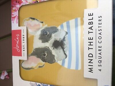 Joules Kitchen Coasters Set Of 4 Cork backed ONE in GOLD DOGS MULTI in One Size