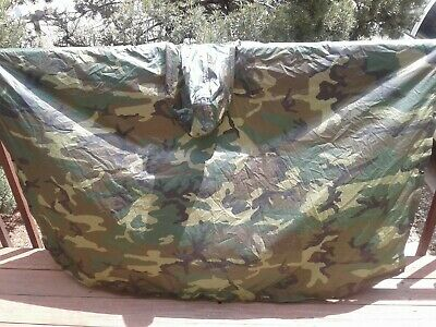 New WT US Military Woodland Camouflage Wet Weather Poncho NSN 8405-01-100-0976