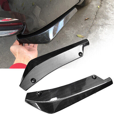 2X Universal Carbon Fiber Look Car Bumper Rear Lip Wrap Angle Diffuser Splitter
