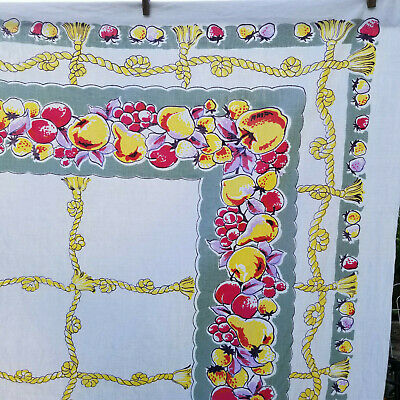 1950s Vintage Tablecloth Shabby Cottage Fruit Strawberry Chic Cotton 50x64