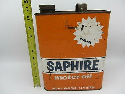 Vintage Empty 2 Two Gallon Gulf Saphire Sae 30 Motor Engine Oil Metal Can Bucket
